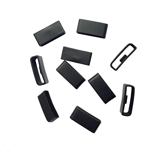 ECSEM Replacement Black Fitbit Charge HR Silicon Fastener Ring Connect Security Loop(10PCS) / No Tracker No Bands