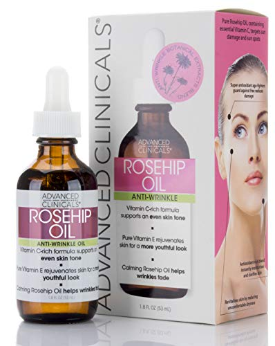 Advanced Clinicals Rosehip Oil Anti-wrinkle Face Oil with Vitamin C and Vitamin E for Sun Damage, Age Spots and Wrinkles (Two - 1.8oz) (1.8oz)