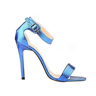 Wotefusi Women Summer Snakeskin Pattern Open Toe Bandage Ankle Strap Party Club Sandals Blue 6B(M) US