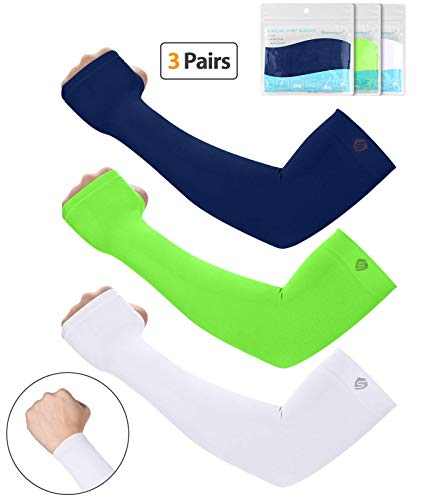SHINYMOD UV Protection Cooling Arm Sleeves Men Women Sunblock Cooler Protective Sports Running Golf Cycling Basketball Driving Fishing Long Arm Cover Sleeves Arms Mens Thermal Shirt