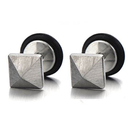 Unisex Stainless Pyramid Earrings Finishing