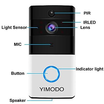 WiFi Video Doorbell, YIMODO Wireless Smart Doorbell, Remote Video Intercom Doorbell - 8G Memory Card - Security Camera with PIR Motion Detection-HD Recording Night Vision
