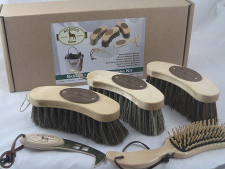 Borstiq Banana Horse Grooming Brush Kit (5 Pieces) - Includes Ergo Massage Brush and Stud Spanner. Sold with Hemp Bag.