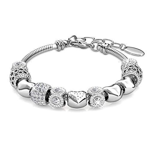 (Alaxy Bangle Bracelets Made with Swarovski Crystal, Charm Beaded Bracelets for Teens Girls and Women Size 19cm (7.48'') - 22cm (8.6'') (Silver))