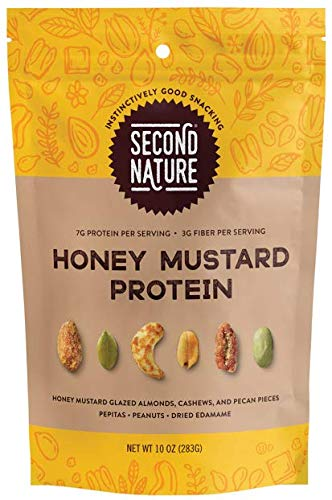 Second Nature Honey Mustard Protein Trail Mix - Healthy Nuts Snack Blend - 10 oz Resealable Pouch