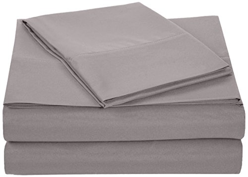 AmazonBasics Microfiber Bed Sheet Set - Twin, Dark Grey