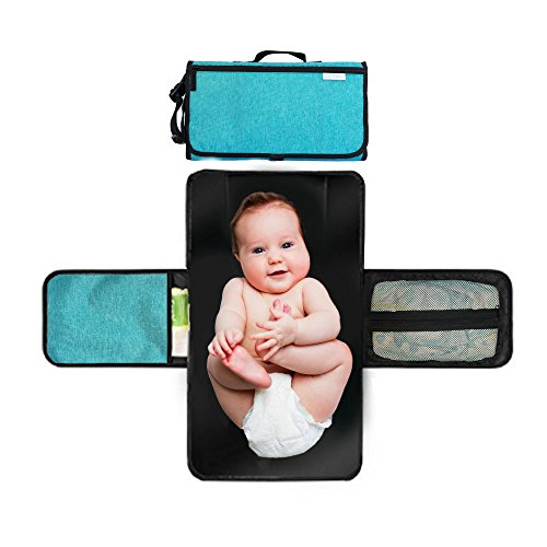 Portable Diaper Changing Pad with Pillow Cushioning | Lightweight Trifold Clutch Style Baby Changing Station | Trendy Teal Deluxe Diaper Bag Travel Changing Mat | Interior and Exterior Zipper Pockets