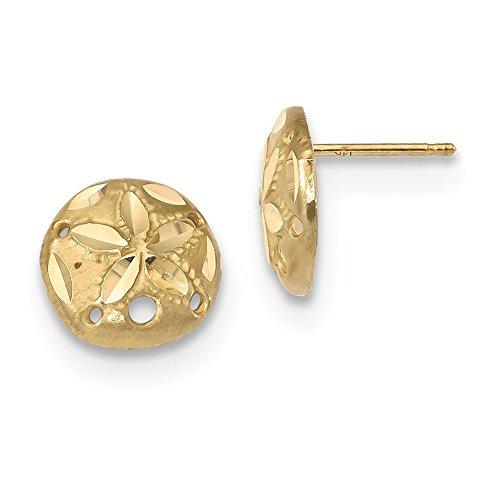 Mia Diamonds 14k Yellow Gold Satin Diamond-cut Sand Dollar Post Earrings