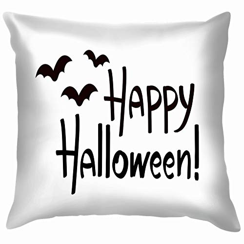 Happy Halloween Eps 8 Letterting Bats Holidays Soft Cotton Linen Cushion Cover Pillowcases Throw Pillow Decor Pillow Case Home Decor 18X18 Inch -