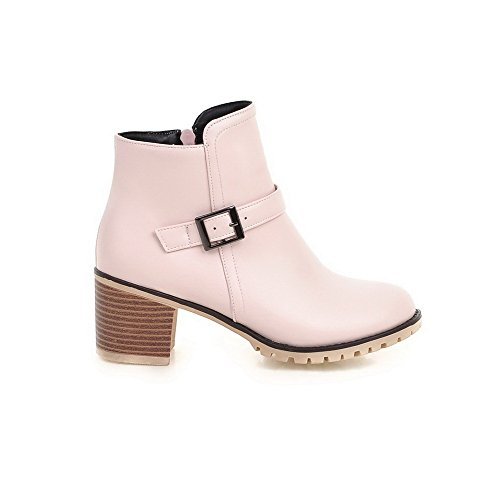 AgooLar Women's Closed Round Toe Kitten-Heels Soft Material Low-Top Solid Boots Pink lT4gS5Bs