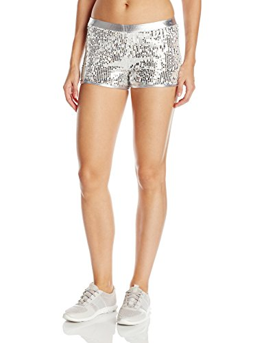 Womens Team Short (Gia-Mia Dance Women's Sequin Short Yoga Jazz Hip Hop Costume Performance Team, Silver, M)