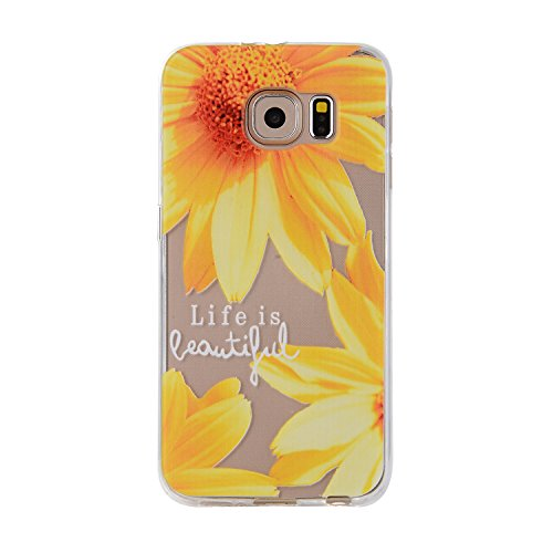 Galaxy S7 Tpu Case,IKASEFU Pretty Sunflower Design Slim Fit Soft Gel Clear Transparent Bumper Tpu Rubber Case Cover for Samsung Galaxy S7-Sunflower