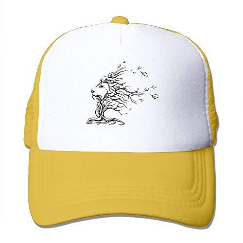 (HuaXuAgr Lion Face Tattoo Mesh Trucker Caps/Hats Adjustable Unisex Black)