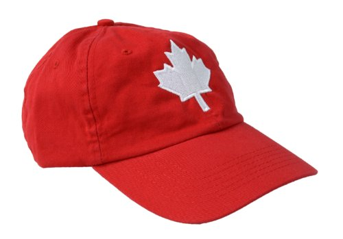 t Canadian Pride Embroidered Adult Twill Red Baseball Cap, Adjustable, one size fits most (Embroidered T-shirt Hat)