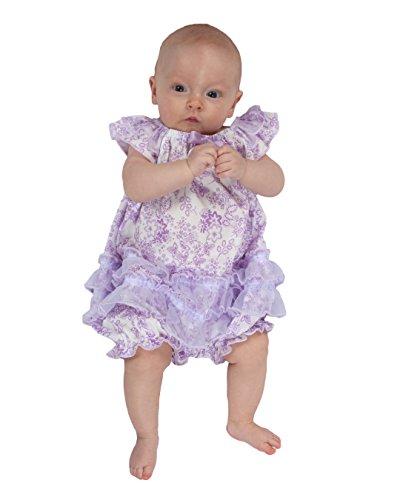 Girlie Baby Doll Shirt - Laura Dare Baby Girls Lovely Lavender Floral Frilly Romper, 3m