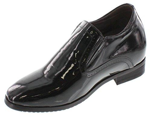 Toto-x7113-9,1cm Grande Taille-Hauteur Augmenter Chaussures ascenseur (brevet Noir à Enfiler)
