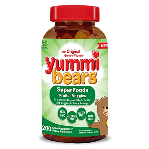 Yummi Bears Wholefood and Antioxidants Gummy Vitamins for Kids, 200 Gummies (Chewable Vegetable And Fruit)