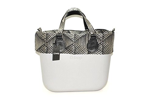 Borsa o bag mini grigio con sacca bordo e manico corto 3d argento e nero New collection AI 20178 (K)