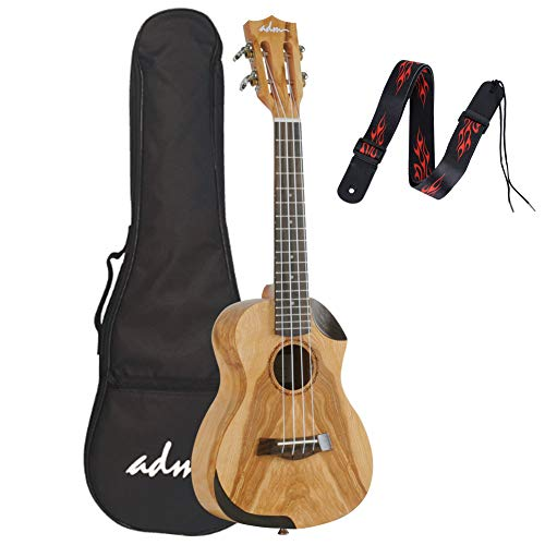 ADM 23 Inch Concert Ukulele Willow Wood Professional with Strap Gig Bag