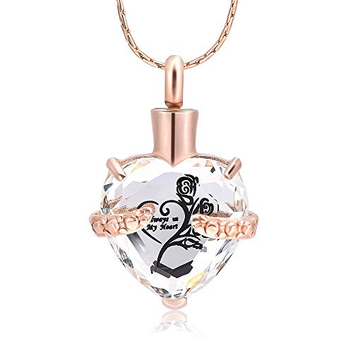 constantlife Crystal Heart Memorial Jewelry Stainless Steel Cremation Urn Pendant Necklace (Rose Gold - Clear Crystal Heart