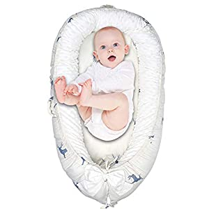 Baby Bassinet Baby Lounger Best Bassinet Breathable, Washable, Portable and Cotton Perfect for Cuddling, Lounging, Co Sleeping, Napping and Travel(0-24 Months), Christmas Deer
