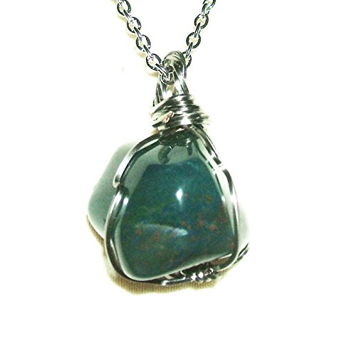 BLOODSTONE NECKLACE WIRE WRAPPED PENDANT Silver Pltd COURAGE SELFLESSNESS Metaphysical Sacred Stone