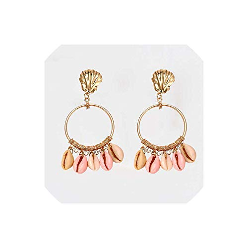 Colorful Stone Drop Earrings Shell Pearl Beaded Earrings For Women Gold Color Metal Statement Jewelry Wholesale Gift,2