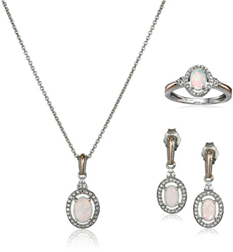 14K Rose Gold over Sterling Silver Created Opal with Created White Sapphire Pendant Necklace, Earrings and Ring Box - Earring Ring Fashion