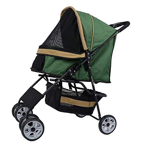 ZGYQGOO Lightweight Folding Pet Hand Stroller Cat/Dog, No Zipper Entry, Simple One-Hand Folding, Non-Slip Air Tire, Plush Pad Cover, Detachable Padded Three- Four-Wheeled with Pets Outdoors Travel