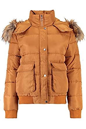 Boohoo Womens Emma Boutique Faux Fur Trim Padded Jacket At Amazon