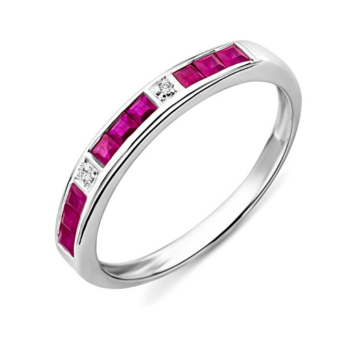 Miore Eternity Ring, 9ct White Gold, Diamond and Ruby Channel Set Eternity...