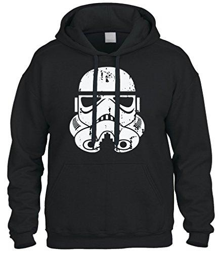 Cybertela Distressed Stormtrooper Storm Trooper Sweatshirt Hoodie Hoody (Black, (Trooper Sweatshirt)