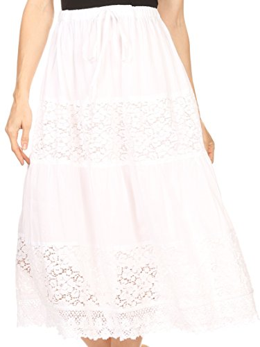 Sakkas 5283 - Celeste Boho Lace Skirt With Elastic Waistband - White - OS (Waistband Skirt Elastic)