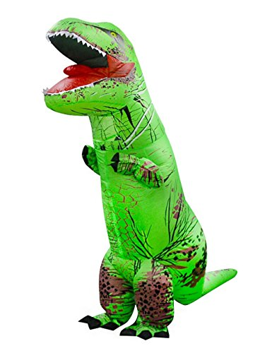 Colorful Tail Costumes (Gameyly Adult Colorful Dinosaur Costume T Rex Jurassic Outfit Green)