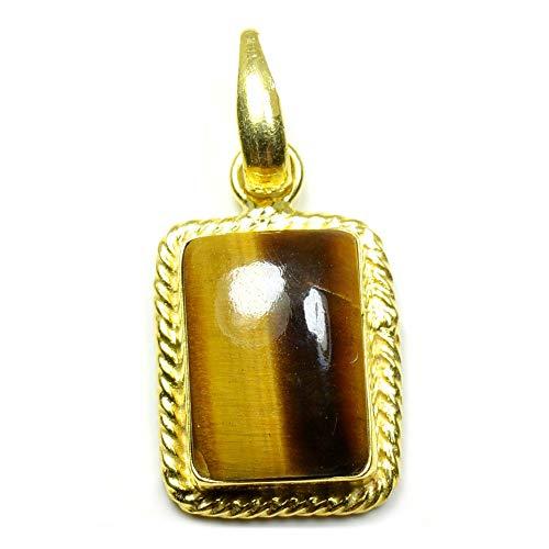 Jewelryonclick Genuine Tiger Eye Gold Plated Rectangle Shape Pendant Bezel Setting Necklace Jewelry - Rectangle Tiger Pendant Eye