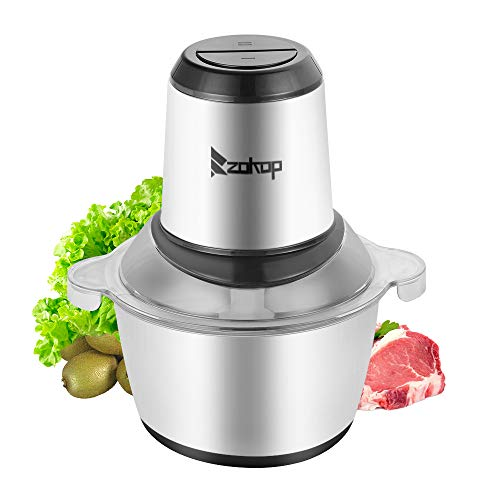 2-Speed Portable Electric Home Use Stainless Steel One-Button Meat Grinder(300W,2L,304 Stainless Steel Cup&4 Sharp…