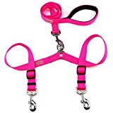 DCbark Tangle Free Double Dog Leash, No Tangle Adjustable Length Lead with Comfortable Padded Handle for 2 Dogs (L, Neo Pink)