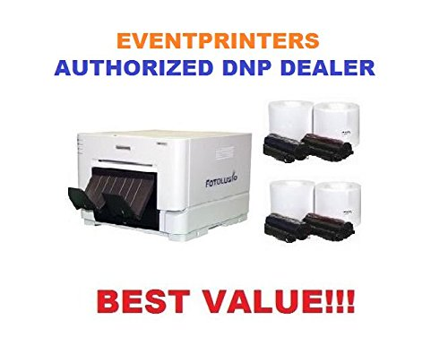 DNP DS-RX1HS Photo Printer - BUNDLE - with FOUR ROLLS of 4x6 media (total of 2.800 prints) by DNP