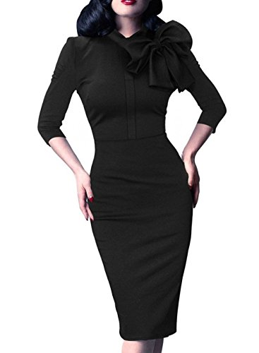 - Women's 1950s Retro 3/4 Sleeve Bow Cocktail Party Evening Dress Work Pencil Dress Black Large