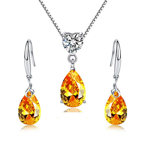 Emma Manor EM Women Jewelry Set 14k White Gold Plated 925 Sterling Silver 12mm Yellow Gold Pear Shape Crystal Pendant Necklace,Music Musk Dangle Earrings for Lady (Jewelry Set) ()