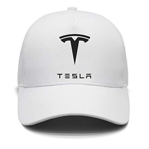 Custom Tesla-car-Motor-Black-Logo-Emblem-White Fitted Hat Womens Mens
