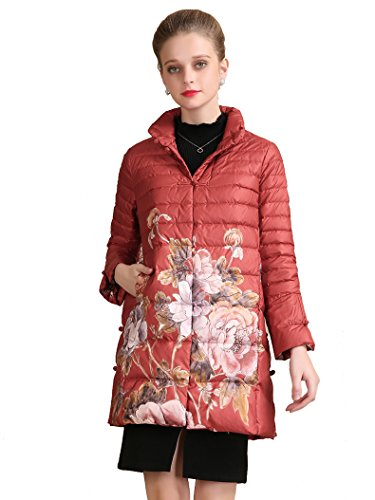 Queenshiny New Style Women's Winter Lightweight Long Downcoat Red S(4-6) by Queenshiny