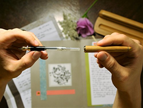 Explormate Fountain Pen - Handcrafted Refillable Bamboo Pen Set with Fine Medium Nib, Ink Refill Converter and Designer Desk Holder - Green and Eco-Friendly - Perfect for Journaling and Calligraphy