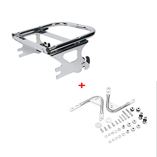 XMT-MOTO XMT-MOTO Detachables Two-Up Tour-Pak Mounting Rack(Replace for Part Number 53276-04A)+Docking Hardware Kits(Replace for Part Number 53804-06) Fit Harley Davidson Touring models 1997-2008(Chrome) price tips cheap
