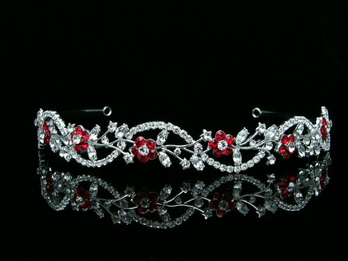(Bridal Flower Rhinestones Crystal Wedding Headband Tiara (Red Crystals Silver Plated))