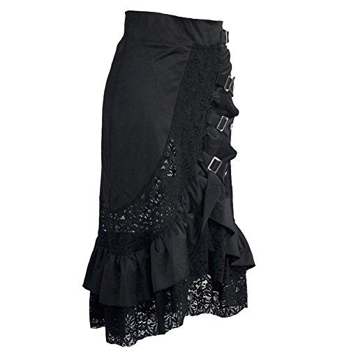 Coswe Damen Kleidung Schwarz Jahrgang Steampunk gotisch Baumwolle Röcke Rock Spitze Kleid (S)
