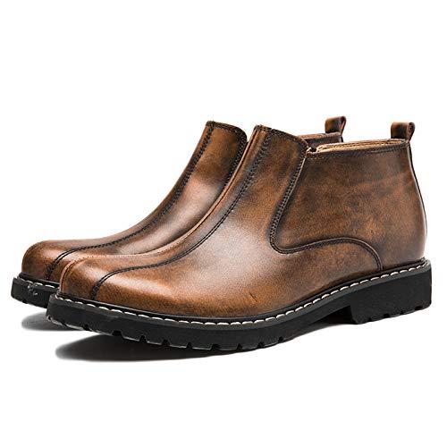 Chelsea Boots Uomo in Pelle Sicurezza Formale Brogue Classic Winter Zipper Retro High-Top in Pelle Scarpe Brown