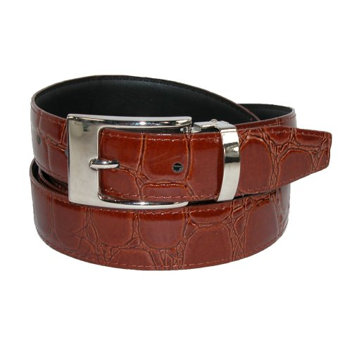 CTM Men's Leather Croc Print Dress Belt with Clamp On Buckle, 36, Tan (Reptile Buckle Belt)