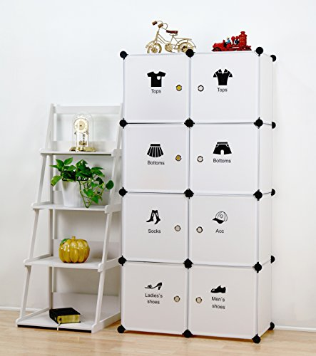 UNICOO Multi Use DIY Plastic 8 Cube Organizer, Toy Organizer, Bookcase, Storage Cabinet, Wardrobe Closet White With Door Sticker (White With Wire Holding Panels)