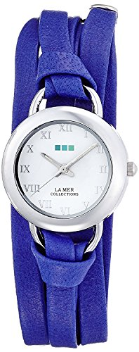 LA MER COLLECTIONS watch COBALT BLUE SATURN white dial lamb leather belt LMSATURN006 Ladies